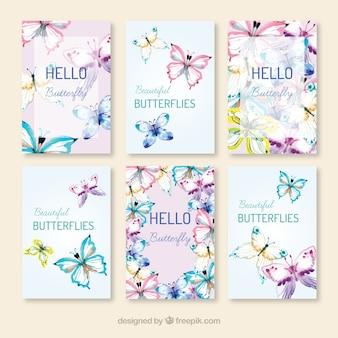 Pacote de borboletas desenhadas à mão cartões