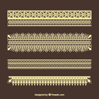 Pacote de bordas de renda dourada