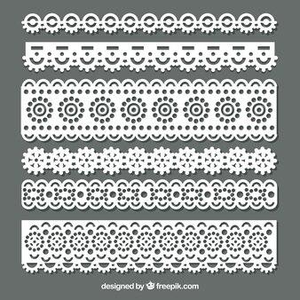 Pacote de bordas de renda floral em design plano