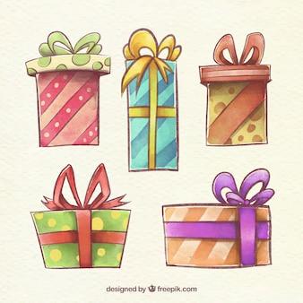 Pacote de caixas de presente desenhadas à mão