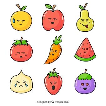 Pacote de caracteres de frutas e vegetais desenhados mão