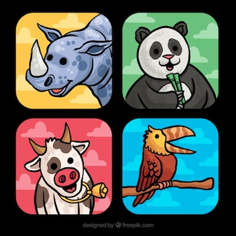 Pacote de cartas desenhado à mão com animais sorrisos