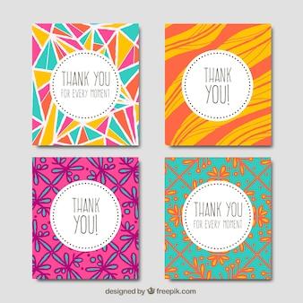 Pacote de cartões abstratos desenhados à mão