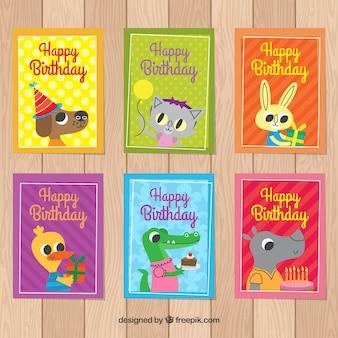 Pacote de cartões de aniversário com animais bonitos