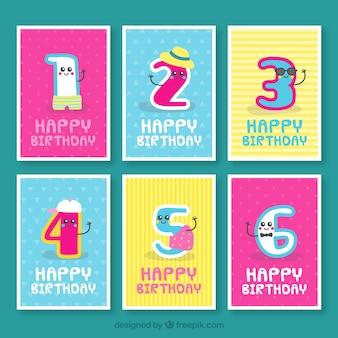 Pacote de cartões de aniversário com números