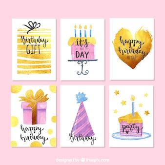 Pacote de cartões de aniversário de aquarela