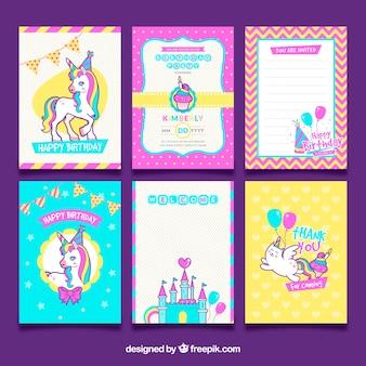 Pacote de cartões de aniversário de unicórnio
