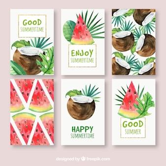 Pacote de cartões de coco de melancia e aguarela