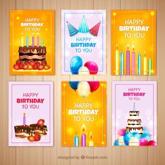 Pacote de cartões de festa de aniversário