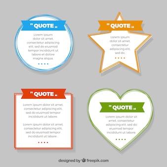 Pacote de citações com diferentes formas