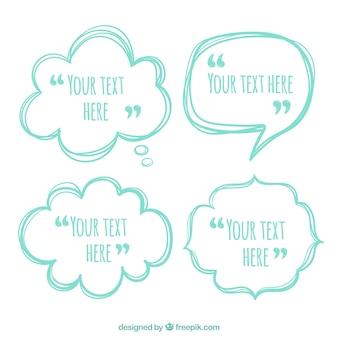 Pacote de citações de bolhas de fala desenhadas à mão