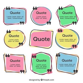 Pacote de citações desenhadas a mão com aspas