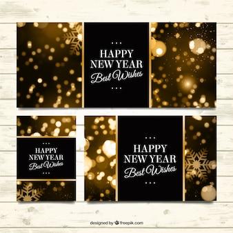 Pacote de convites Natal dourado do bokeh