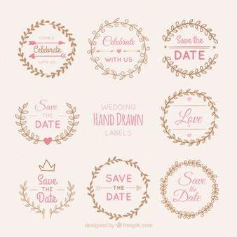 Pacote de coroas de flores do casamento adesivos