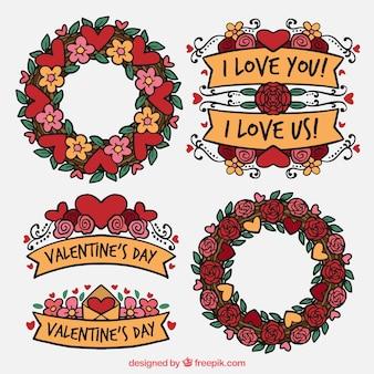 Pacote de coroas de flores do vintage e fitas para o Valentim