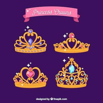 Pacote de coroas de princesa de ouro