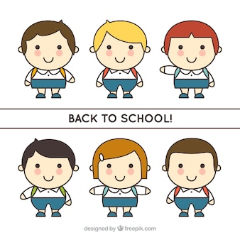 Pacote de crianças desenhado de mão para a escola