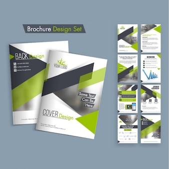 Pacote de design de folheto com formas verdes