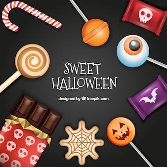 Pacote de doces do dia das bruxas realistas