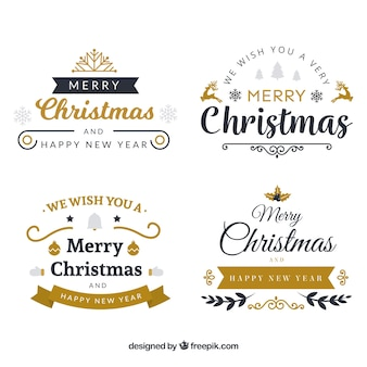 Pacote de elegantes adesivos de natal