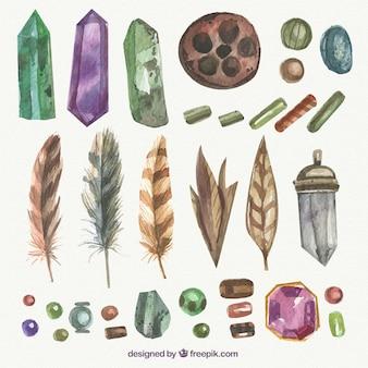 Pacote de elementos boho com pedras preciosas em efeito de aquarela