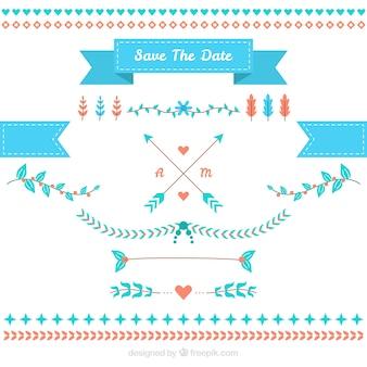 Pacote de elementos de casamento planos com detalhes azuis