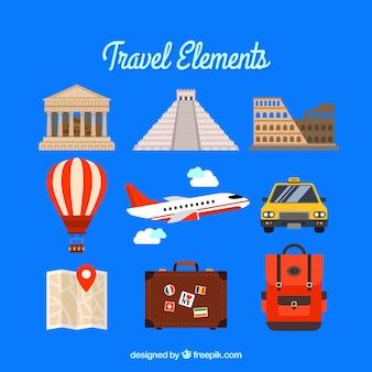 Pacote de elementos de viagem com monumentos e transportes