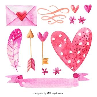 Pacote de elementos decorativos aquarela românticas
