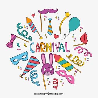 Pacote de elementos desenhados mão do carnaval do partido