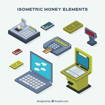 Pacote de elementos dinheiro isométricos