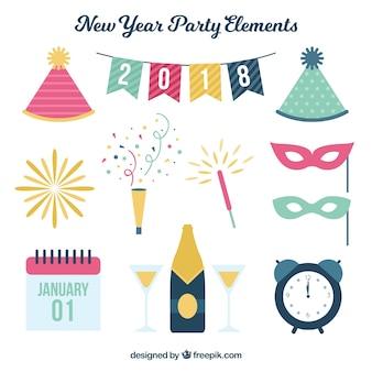 Pacote de elementos do partido de ano novo em design plano