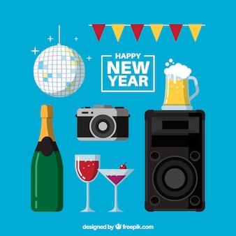Pacote de elementos do partido do ano novo