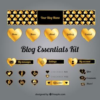 Pacote de elementos dourados do blog