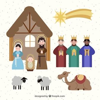 Pacote de elementos e personagens da cena da natividade
