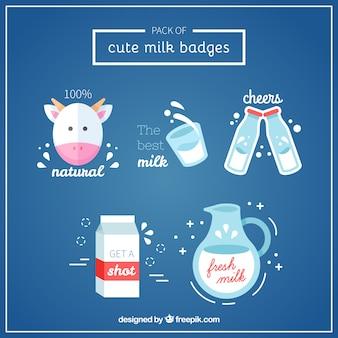 Pacote de emblemas bonitos do leite