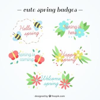 Pacote de emblemas com detalhes de primavera