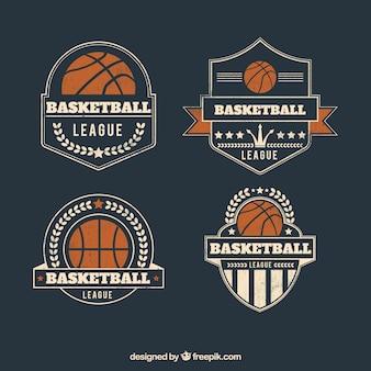 Pacote de emblemas de basquetebol do vintage