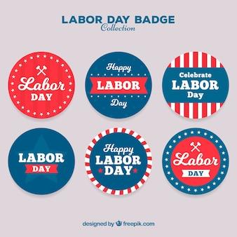 Pacote de emblemas do dia do trabalho redondo americano