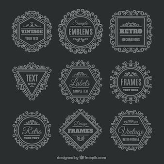 Pacote de emblemas geométrico Retro