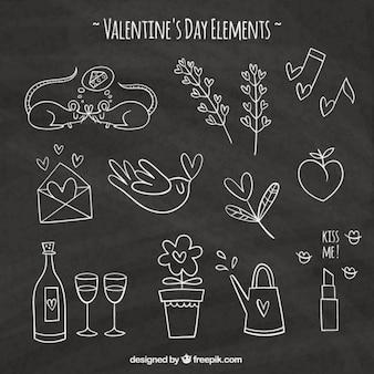 Pacote de encantadores desenhos de valentine