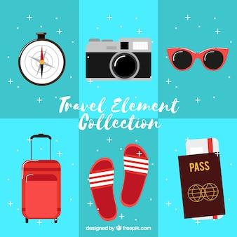 Pacote de equipamentos de viagem de verão em design plano