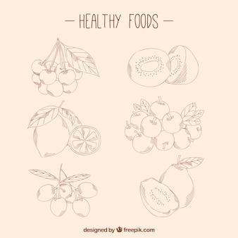 Pacote de esboços alimentares saudáveis