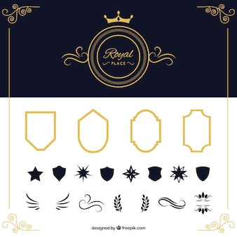Pacote de escudos e elementos ornamentais
