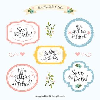 Pacote de etiquetas de casamento com estilo bonito