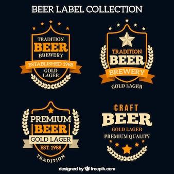 Pacote de etiquetas de cerveja retro