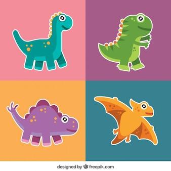 Pacote de etiquetas de dinossauros agradáveis