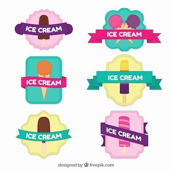Pacote de etiquetas de sorvete com grandes cores
