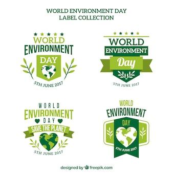 Pacote de etiquetas do dia do ambiente do mundo adesivo
