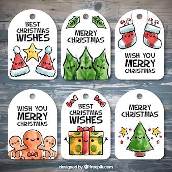Pacote de etiquetas do natal aquarela desenhados à mão