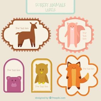 Pacote de etiquetas do vintage com animais da floresta linda